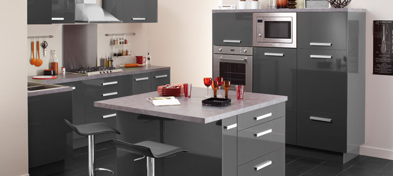 Beautiful Meuble De Cuisine Gris Laque Pictures - Design Trends