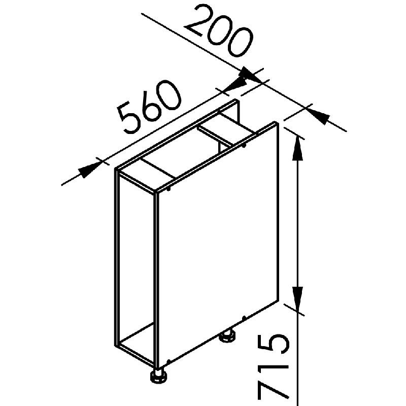 mon espace maison meuble bas cuisine chene massif brut largeur 20cm. Black Bedroom Furniture Sets. Home Design Ideas