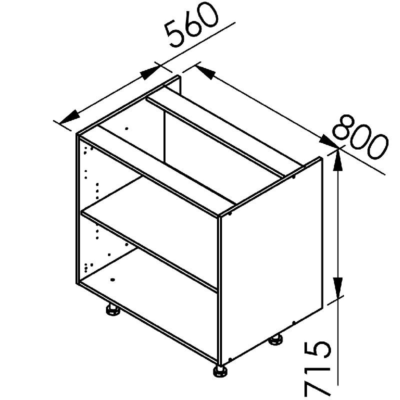 mon espace maison meuble bas cuisine chene massif brut largeur 80cm. Black Bedroom Furniture Sets. Home Design Ideas
