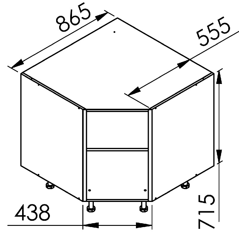 Mon espace maison meuble bas angle cuisine chene massif for Meuble cuisine d angle bas