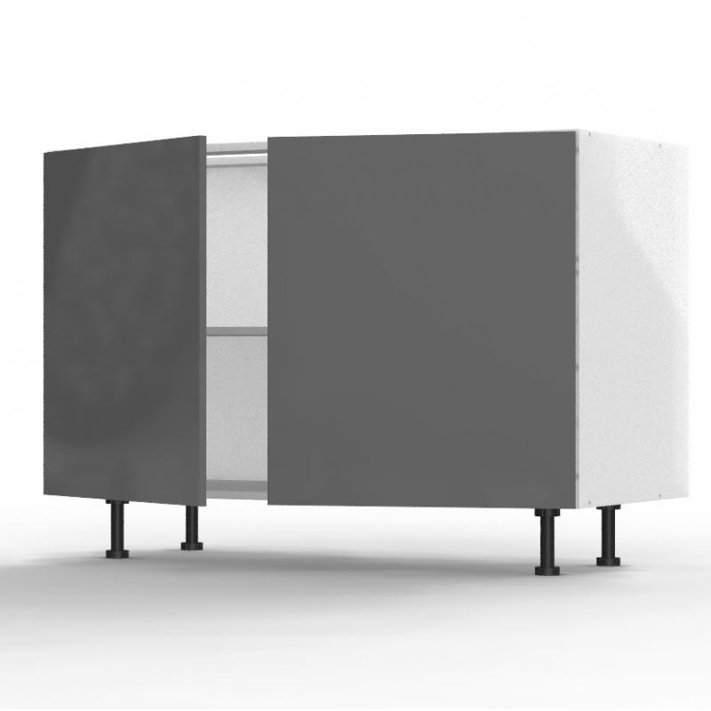 Mon Espace Maison - Meuble bas cuisine gris brillant largeur 120cm