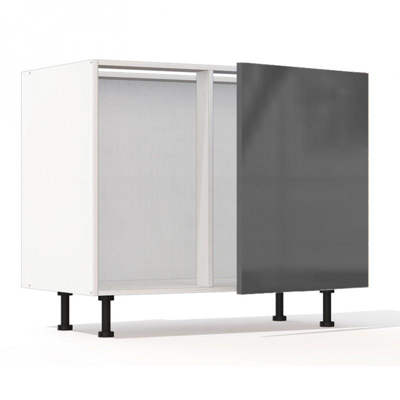 Mon espace maison meuble bas angle cuisine gris brillant for Meuble cuisine d angle bas