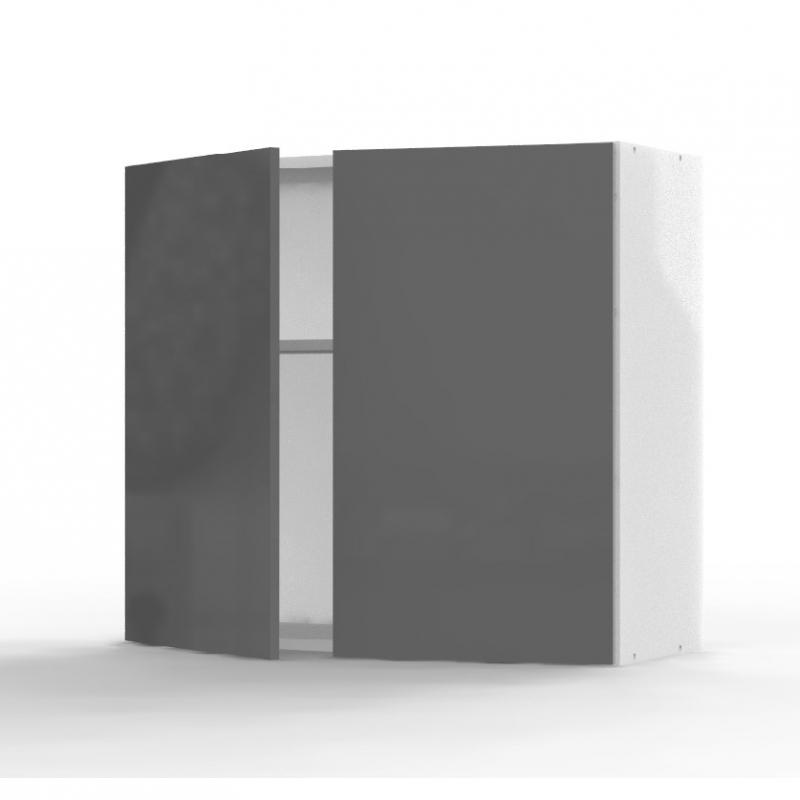 Mon Espace Maison - Meuble haut cuisine gris brillant largeur 80cm