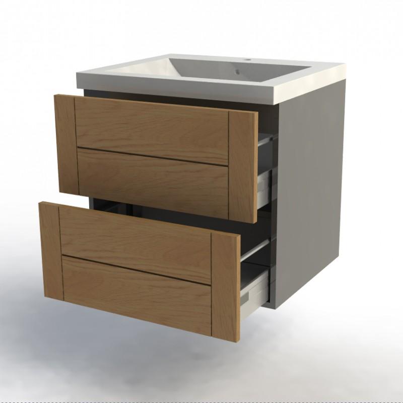 Meuble bas salle de bain gris largeur 60cm facade design 39 for Meuble salle de bain design gris