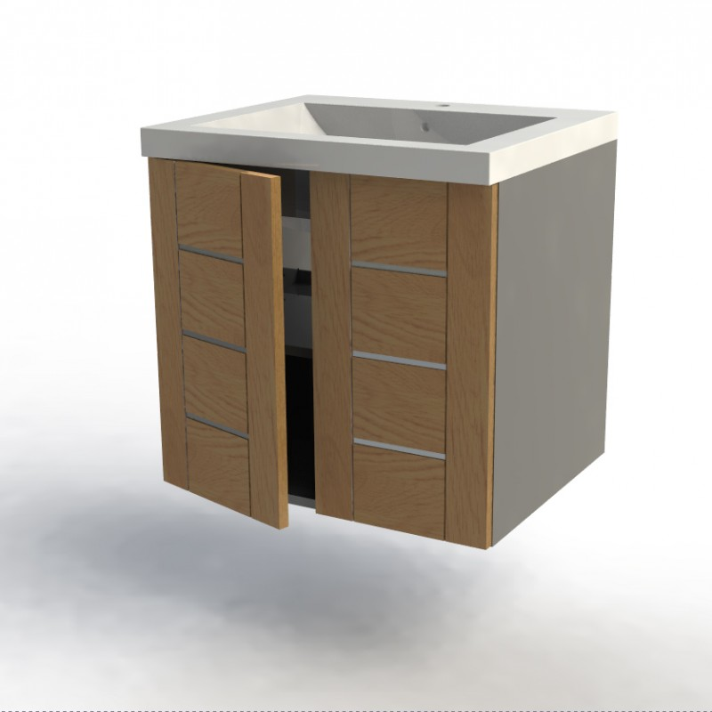 Meuble bas salle de bain gris largeur 60cm facade zao for Meuble bas salle de bain gris