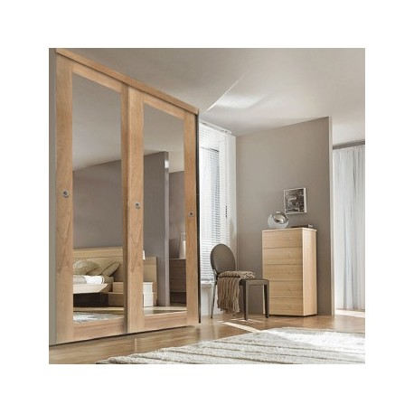 porte de placard coulissante ch ne verni miroir 150cm. Black Bedroom Furniture Sets. Home Design Ideas
