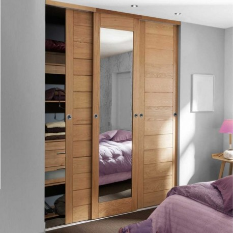 porte de placard coulissante ch ne verni naturel plein et miroir largeur 225cm. Black Bedroom Furniture Sets. Home Design Ideas