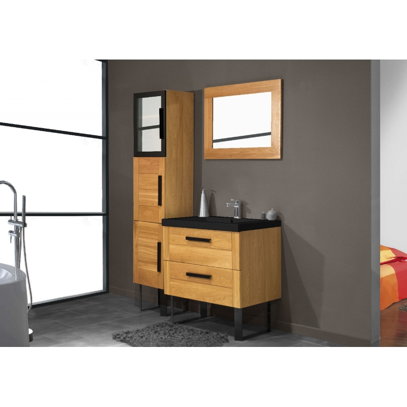 meuble bas salle de bain chene verni largeur 80cm. Black Bedroom Furniture Sets. Home Design Ideas