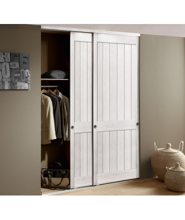 Porte de placard coulissante chêne verni teinté blanc - largeur 180CM