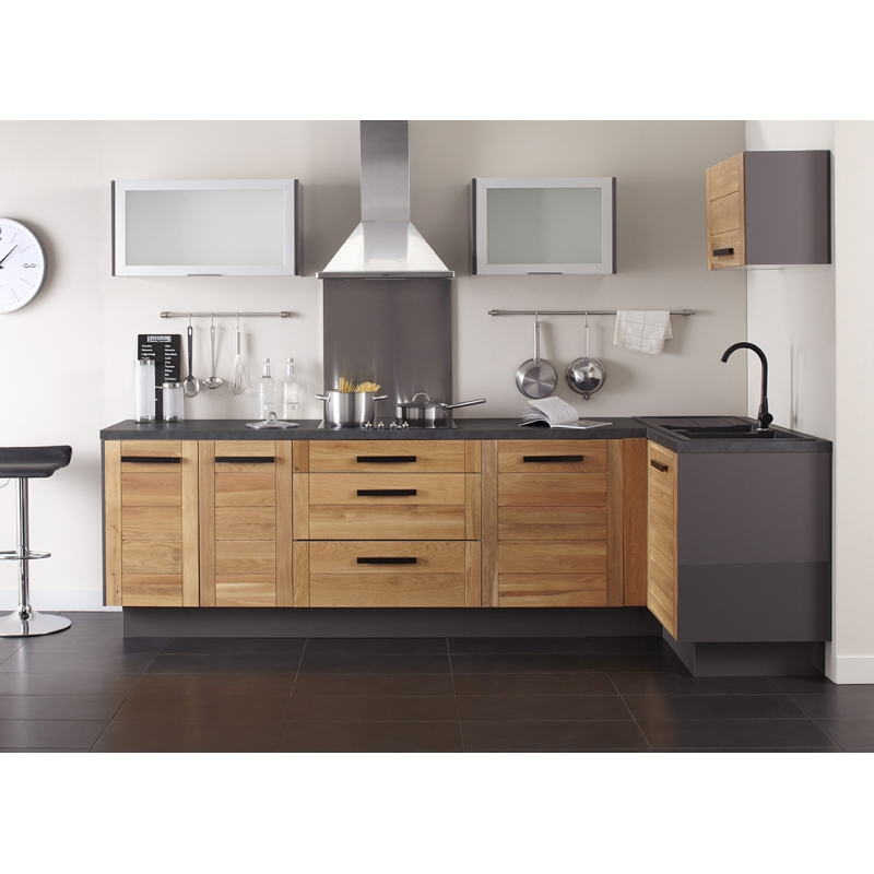 mon espace maison meuble bas cuisine chene massif verni largeur 40cm. Black Bedroom Furniture Sets. Home Design Ideas