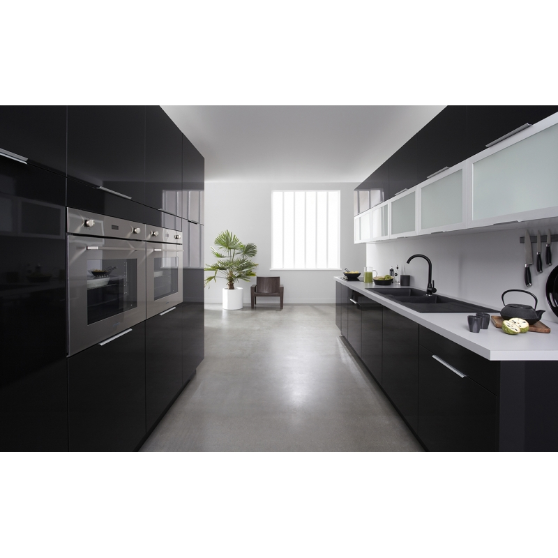 mon espace maison meuble haut cuisine noir brillant largeur 80cm. Black Bedroom Furniture Sets. Home Design Ideas