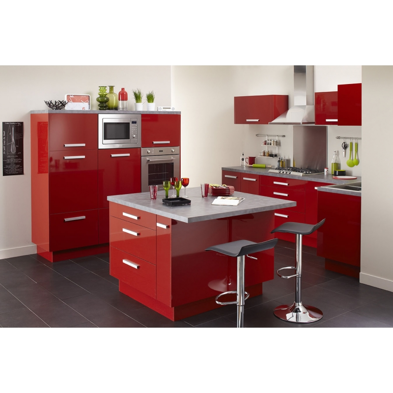 mon espace maison meuble bas cuisine rouge brillant largeur 60cm. Black Bedroom Furniture Sets. Home Design Ideas