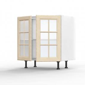Meuble bas Pennsylvania 2 portes vitrées L80xH71,5xP56