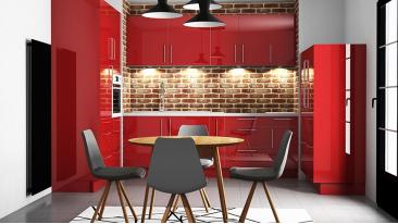 Cuisine Rouge Brillant japan - meubles de cuisine laqué rouge brillant - mon espace maison
