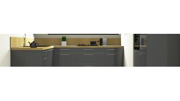 Perla - Meubles de cuisine gris laqué brillant - Mon Espace Maison